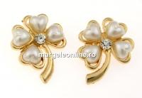 Brosa, trifoi cu perle inima si cristal, 29mm - x4