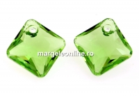 Swarovski, pandantiv Princess cut, peridot, 9mm - x2