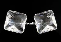 Swarovski, pandantiv Princess cut, crystal, 9mm - x2