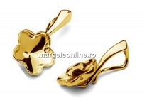 Baza pandantiv argint 925 placat cu aur, floare Swarovski 10mm - x1