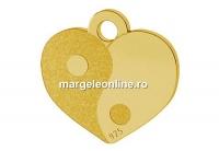 Pandantiv inima Yin Yang, argint 925 placat cu aur, 10mm - x1