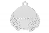Pandantiv banut  cu aripi pt. gravat, argint 925, 14x17mm - x1