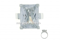 Inel cu cristal zirconia 16x12 , argint 925, interior 18.8mm   - x1