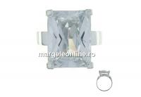 Inel cu cristal zirconia 16x12 , argint 925, interior 19mm   - x1