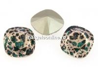 Swarovski, fancy square, emerald rose patina, 12mm - x1