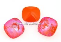 Swarovski, fancy square, Orange Glow DeLite, 10mm - x1