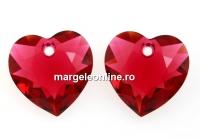 Swarovski, pandantiv inima, scarlet, 10.5mm - x2