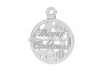Pandantiv argint 925, Merry Christmas, 12mm  - x1