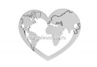 Link argint 925, o inima cat lumea de mare, 20x16mm  - x1