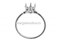 Baza inel argint 925, chaton 6mm, interior 16mm - x1