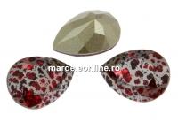 Swarovski, fancy picatura, scarlet silver patina, 18x13mm - x1
