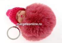 Breloc, bebe puf, roz vintage, 10cm - x1