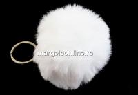 Breloc, mini puf, alb, 7cm - x1