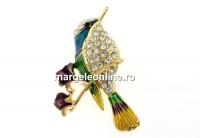 Brosa, colibri cu cristale, 43x32mm - x1