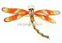 Brosa, libelula cu cristale, 66x38mm - x1