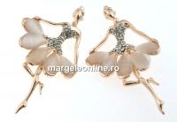Brosa, balerina cu cristale si ochi de pisica, 76x46mm - x1