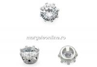 Margele link, rotund cu cristal, argint 925, 6.5mm - x1