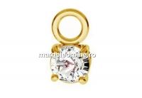 Pandantiv cu cristal, argint 925 placat cu aur, 3.5x6.5mm - x1