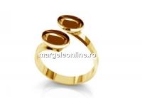 Baza inel ag925 pl cu aur, pt. 2 fancy riv.4122 de 14x10mm, reglabil  - x1