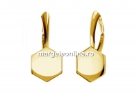 Baza click cercei ag 925 pl cu aur, hexagon Swarovski 4683 - x1per