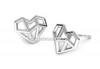 Tortite cercei diamant origami, argint 925 - x1per