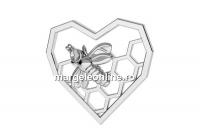 Link inima cu albinuta, argint 925, 15mm  - x1