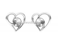 Baza link argint 925, inima, rivoli 6mm - x1