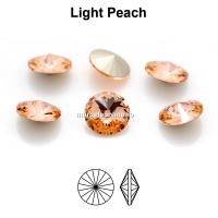 Preciosa rivoli, light peach, 6mm - x2
