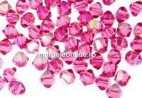 Preciosa, margele bicone, rose AB, 4mm - x40