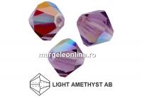 Preciosa, margele bicone, light amethyst AB, 4mm - x40