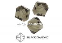 Preciosa, margele bicone, black diamond, 4mm - x40