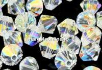 Preciosa, margele bicone, crystal aurore boreale, 6mm - x20