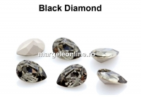 Preciosa, fancy picatura, black diamond, 14x10mm - x1