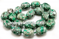 Mosaic stone, round tube, green - white, 22x17mm