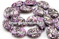 Mosaic stone, flat oval, purple - white, 25x19mm