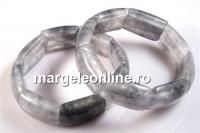 Bratara grey cloudy quartz, 17mm