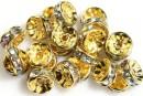 Spacer Rhinestone, auriu, transparent, 8mm - x10