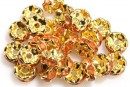 Spacer Rhinestone, auriu, portocaliu, dantelat, 8mm - x10