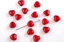 Rosu transparent, inima, 6.5mm - x10