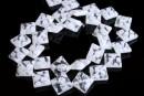 Margele sticla Millefiori, romb, alb, 13x13mm