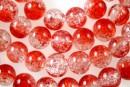 Crackle bicolor rosu si alb transparent, rotund, 10mm - x40