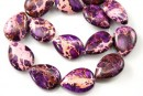 Sediment jasper, vintage purple, flat drop, 26x19mm