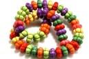 Multicolor magnesite,  flower rondelle, 13x7mm