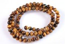 Brown tiger eye, free round, 4mm