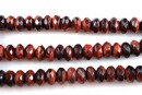 Red tiger eye, faceted rondelle, 8mm