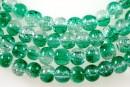 Margele sticla crackle, verde-alb, 4.5mm - x220