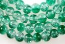 Margele sticla crackle, verde-alb, 6.5mm - x140