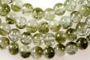 Margele sticla crackle, verde oliv-alb, 6.5mm - x140