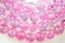 Margele sticla crackle, roz-alb, 8mm - x110
