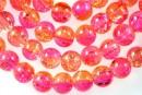 Margele sticla crackle, roz-portocaliu, 8mm - x110